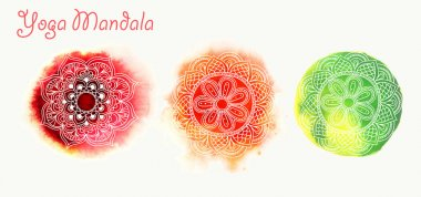 Three watercolor mandalas