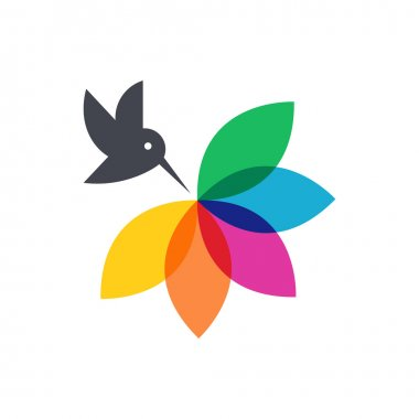 Black bird with rainbow flower