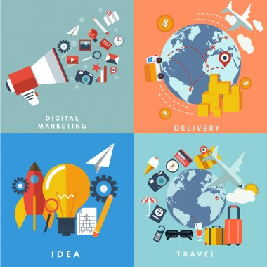 Icons: delivery, digital marketing, idea, travel .