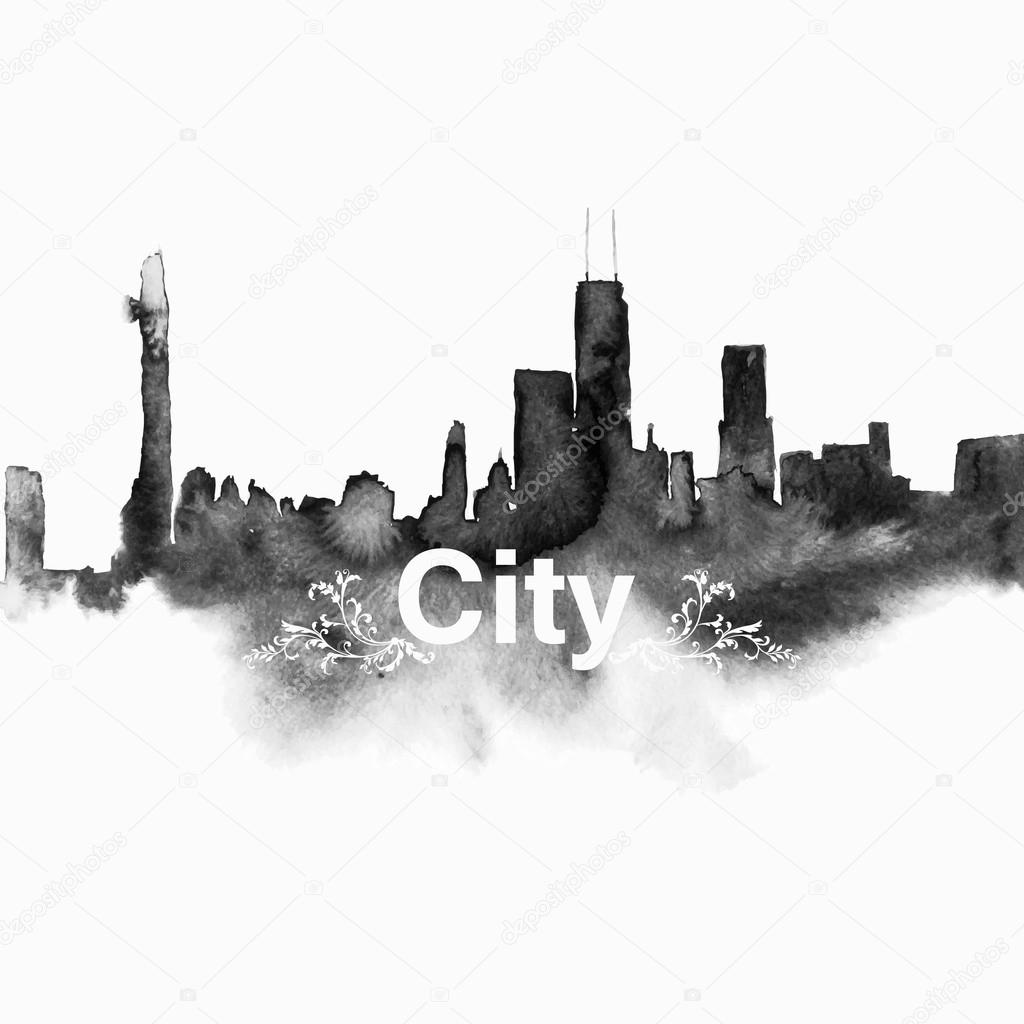 Black city silhouette