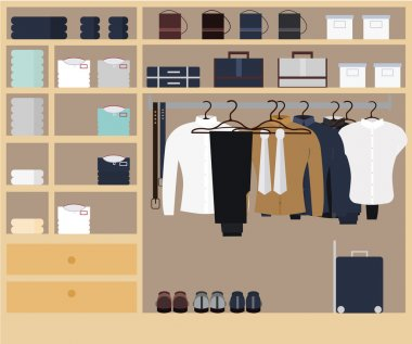 Men`s wardrobe space with clothing