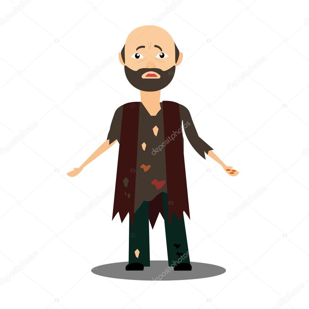 Лохматый человек в грязных тряпках — Векторное изображение ... Лохматый Человек