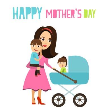 Joyful Mother walks with children.