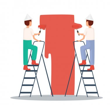 Builders paint the walls.