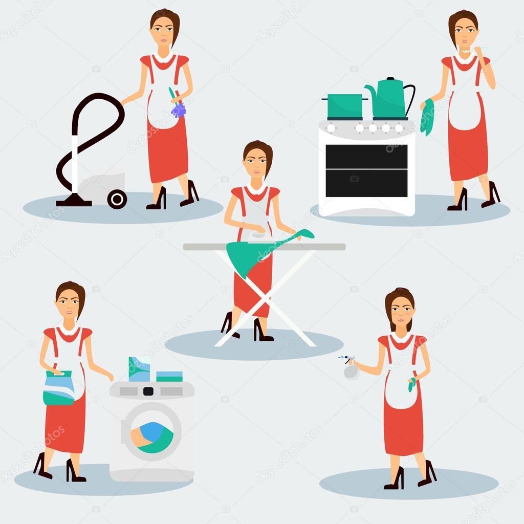 Multitasking housewife  illustration.