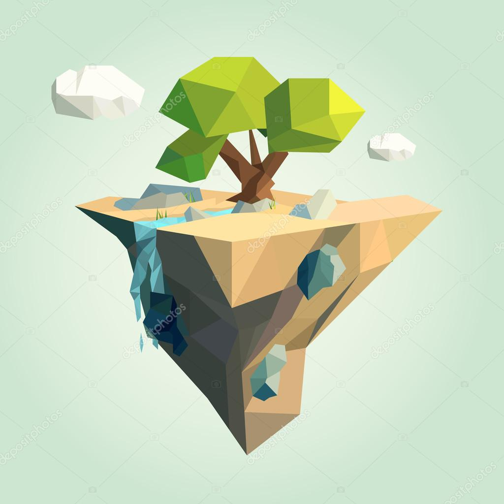 Vector low poly island for your design
