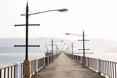 Empty bridge in the morning, sunrise in town