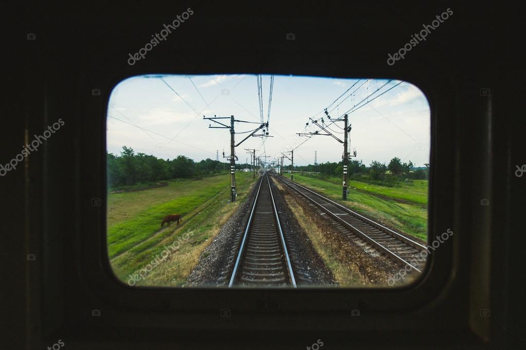 View through train window