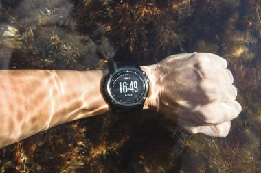 Waterproof sport watches on hand