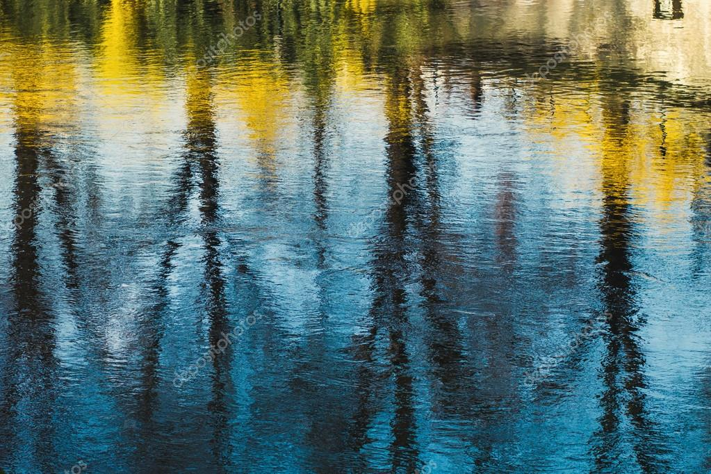 city reflection in water surface