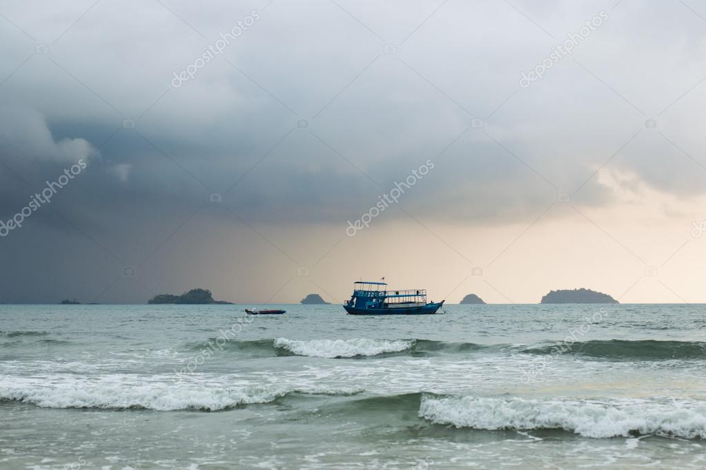 Ship at sea during a storm