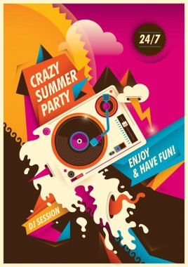 Abstract summer party poster.