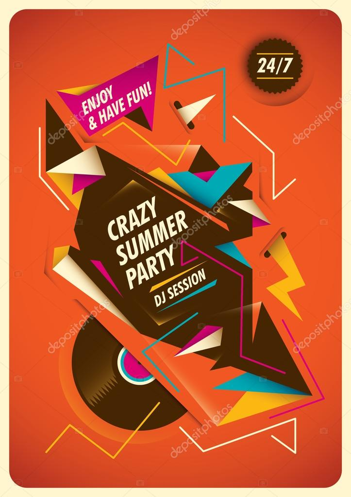 Abstract poster for summer party.