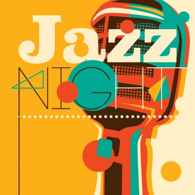 Jazz background with retro microphone. Vector illustration. stock vector