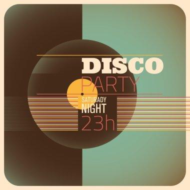 Disco party invitation card design.