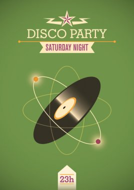 Disco party poster with vinyl.