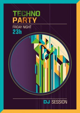 Colorful techno party poster.
