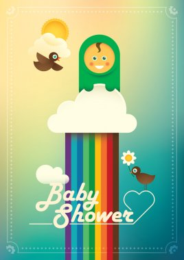 Comic baby shower poster.