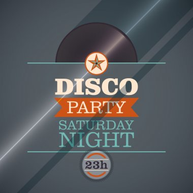 Disco party invitation card.