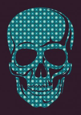 Human skull with geometric texture.