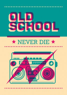 Old school poster with ghetto blaster.