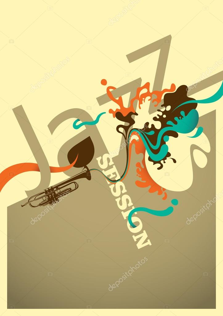Jazz session poster design with abstraction.