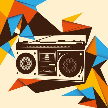Illustrated trendy background with retro radio.