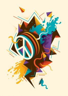 Abstract illustration with peace symbol.