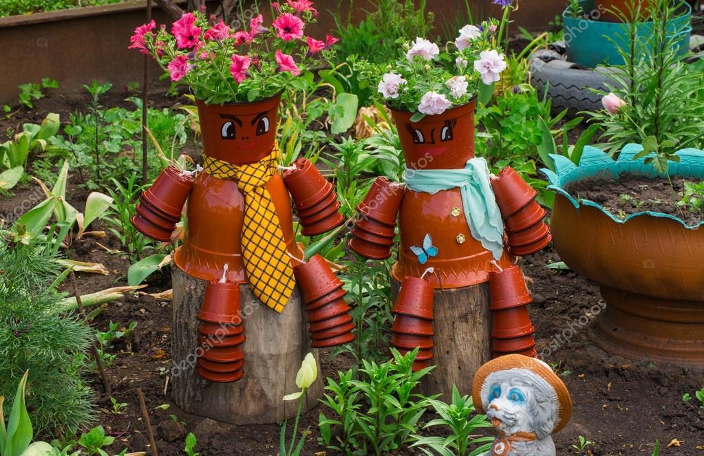 décoration pour le jardin, marionnettes de pot de fleurs — Photo ...
