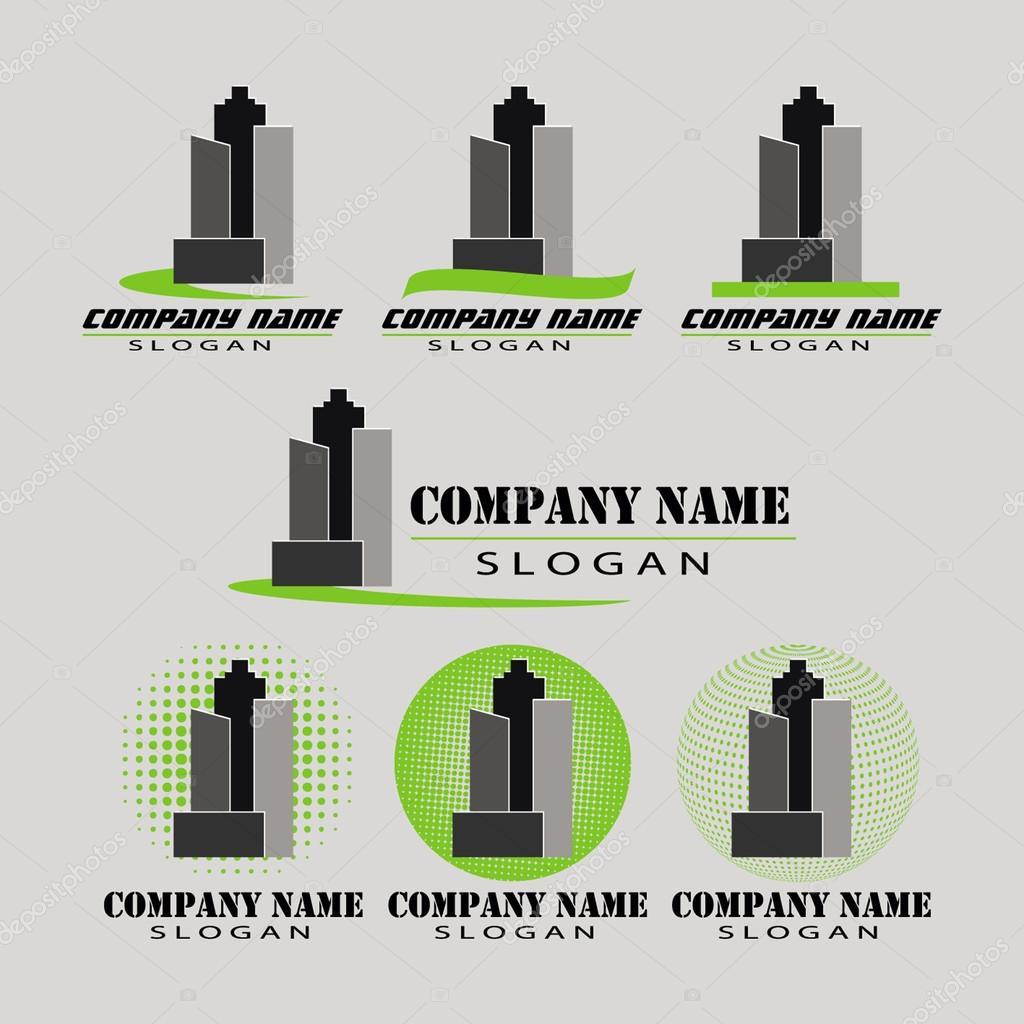 Vector conjunto de diferentes logotipos de las empresas for Empresas constructoras de casas