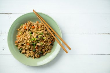 Fried Rice Top View on White Background.
