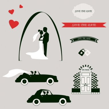 Set of wedding invitation vintage design elements, designers toolkit. Vector illustration.
