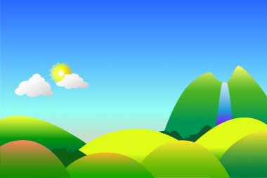 Peaceful nature landscape vector background