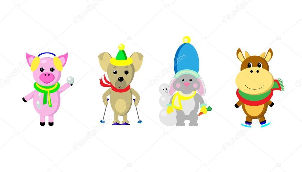 Cartoon stijl dieren met winter sport objecten vector - Animali in inverno clipart ...