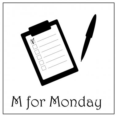 M for Monday business week alphabet, note with to-do list and pen vector illustration