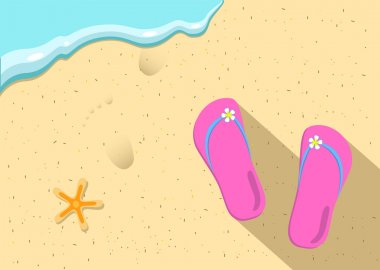 Slippers and sea wave on the beach vector illustration
