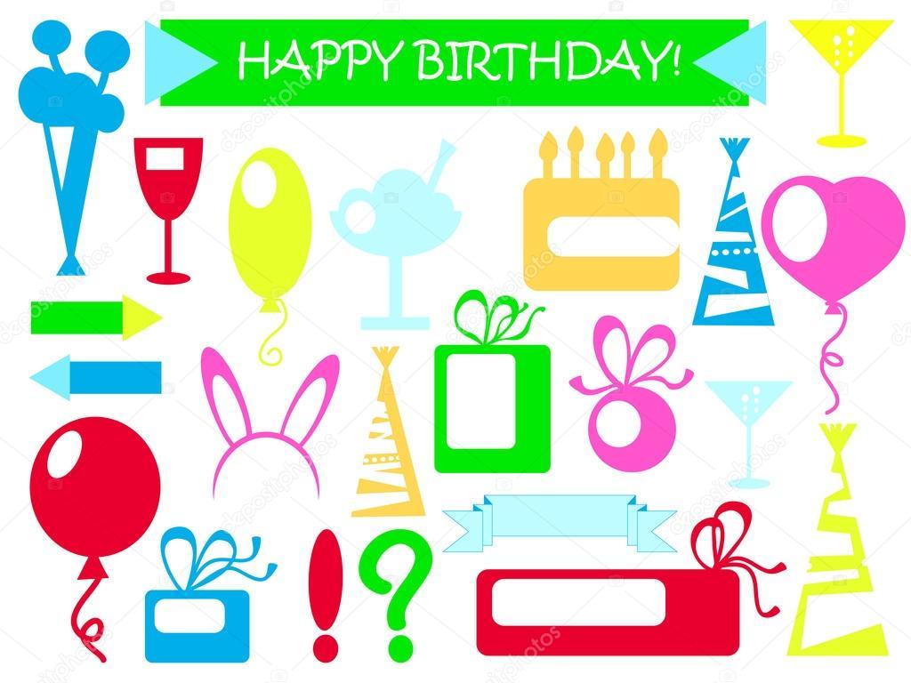 Verjaardag Vector Clipart Gelukkige Verjaardag Versieringen