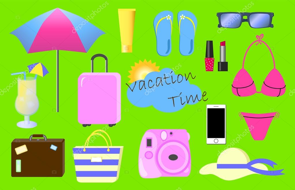 Summer Vacation Vector Clipart Holiday Illustration Stock