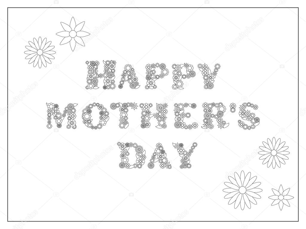 happy mothers day coloring page vector illustration mothers day postcard diy stock