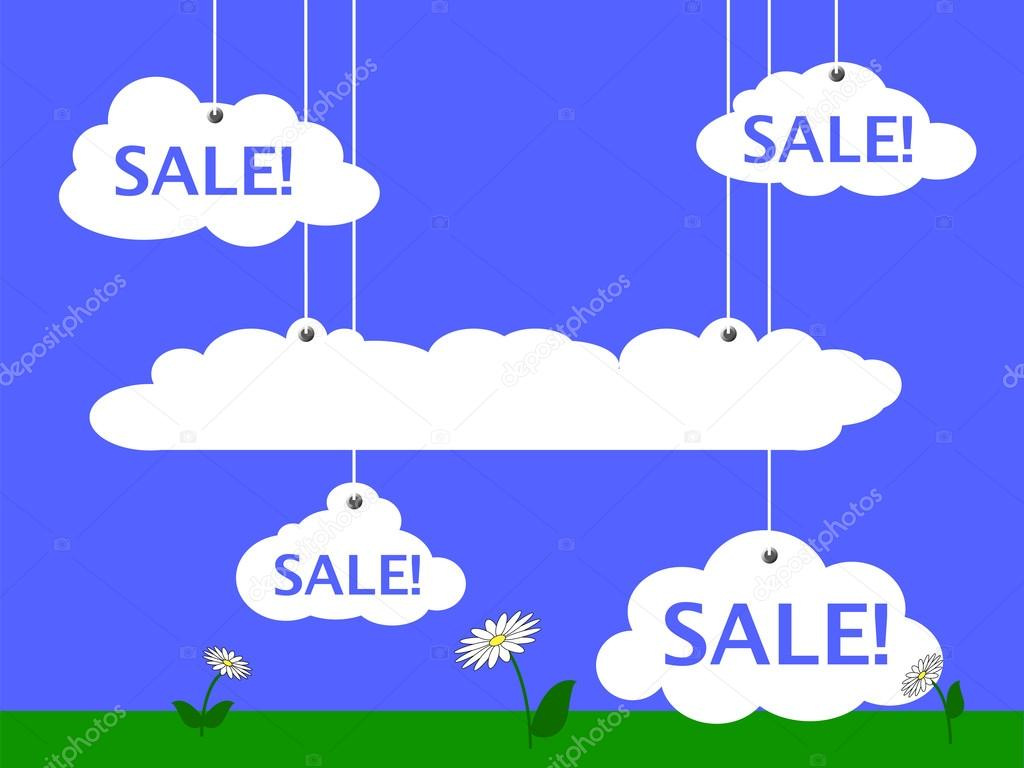 Sale vector illustration with summer meadow and clouds for text