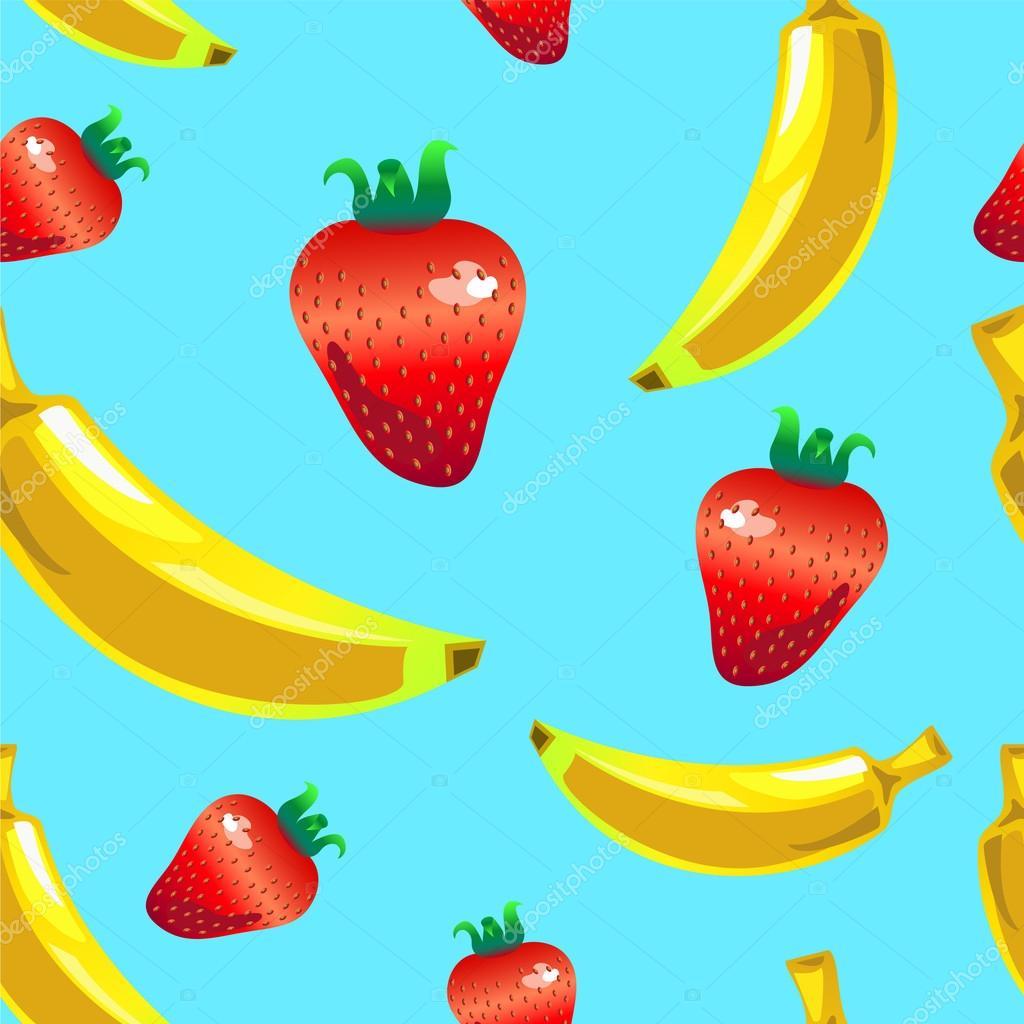 Banane Erdbeere nahtlose Vektormuster auf blauem Hintergrund ...