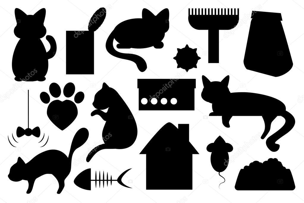 Рисунки черно белые игрушки для кошек