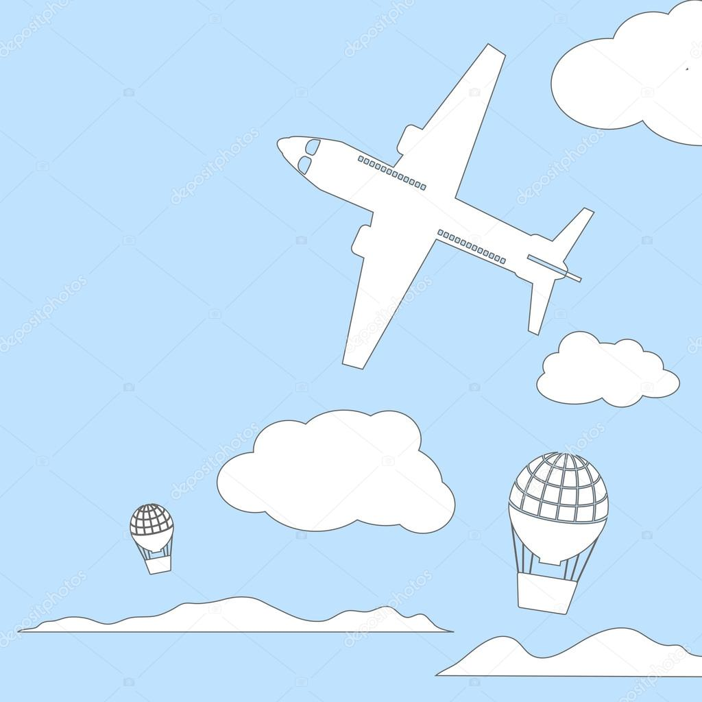 Uçak Ve Hava Balon Ile Bulutlu Gökyüzü Vektör çizim Içinde Metin