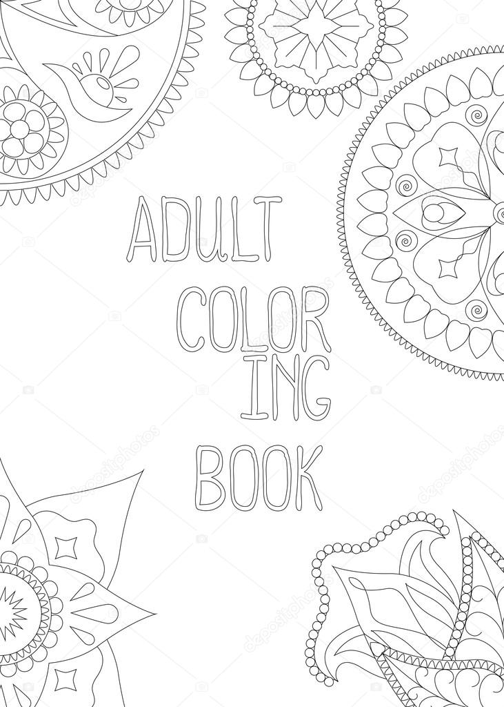 Adult Coloring Book Cover Vertical Vector Illustration
