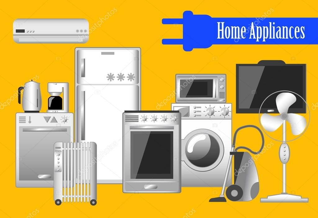 Home Appliances Set Of Vector Illustrations Electronic Household