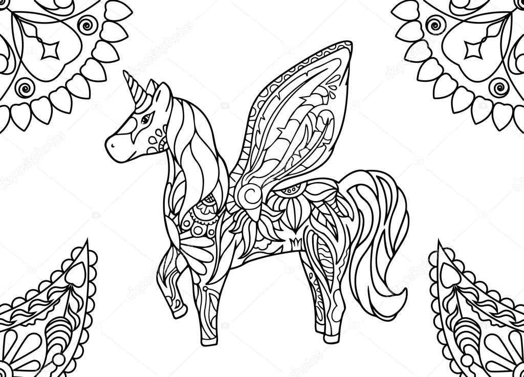 Unicorn With Mandalas Coloring Page Hornicorn Outlined Vector Illustration Magic Animal Picture Sweet Dream Nursery Art Fairy Tale Character