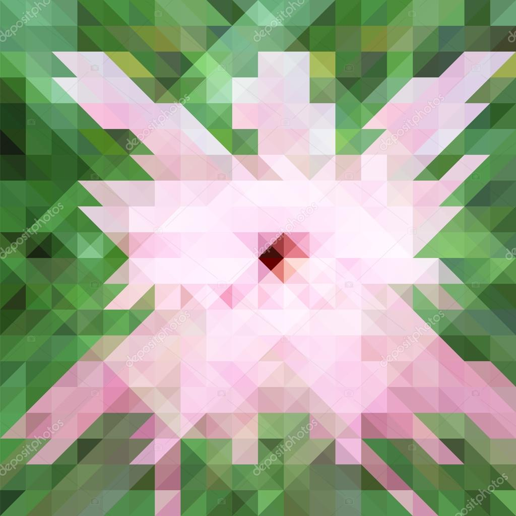 Abstract polygonal hibiscus flower vector illustration, pale gentle color  palette square backdrop image, pink and green geometric pattern, low poly  texture ...