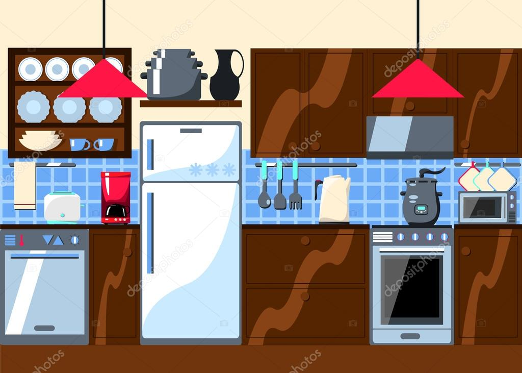Kitchen Room With Furniture And Home Appliances Horizontal Vector