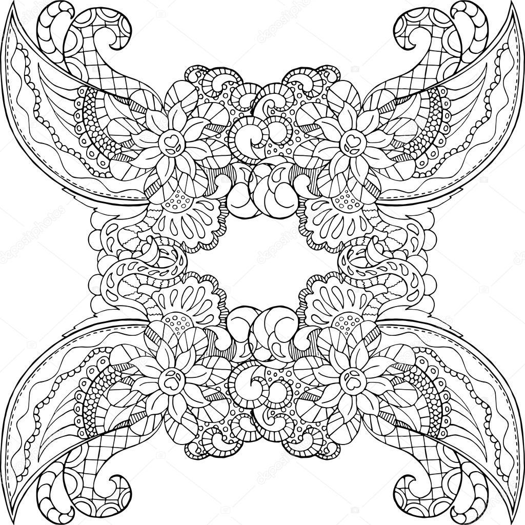 Malvorlagen mit Doodle Ornament. Erwachsenen-Malseite — Stockvektor ...