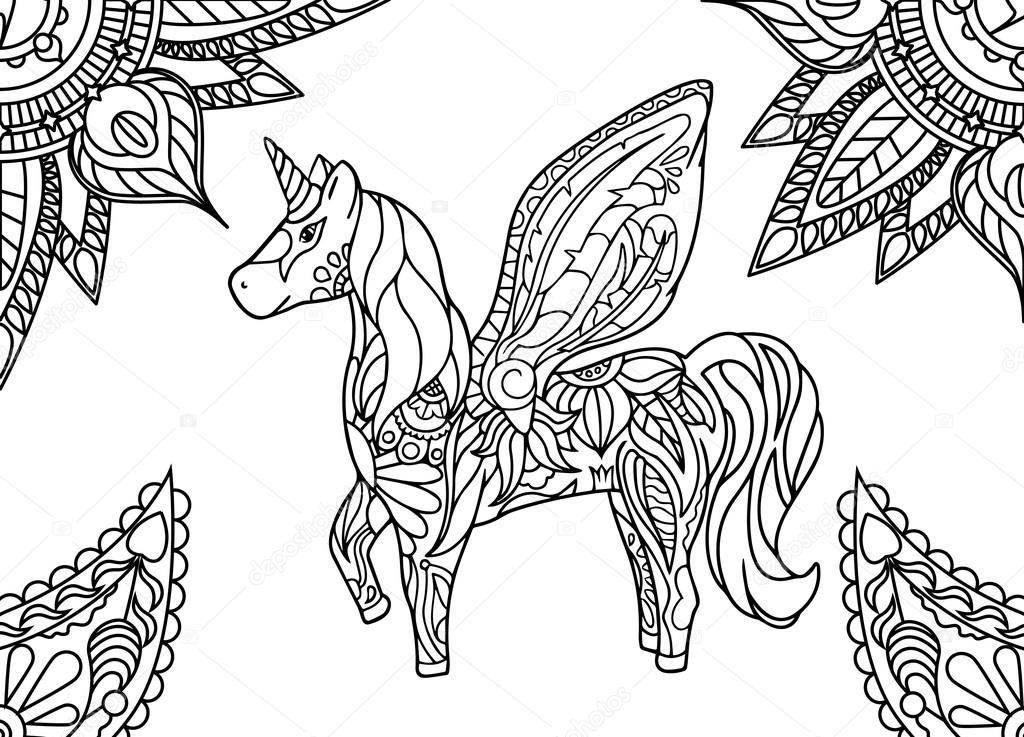 Unicornio con mandala y adorno paisley. Página para colorear de ...